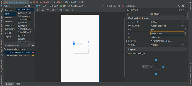 andorid constraint layout code with usage tutorial