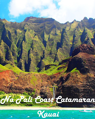 Travel the World: The Na Pali Coast of Kauai Hawaii can be seen by boat on a catamaran trip where you'll explore sea caves and snorkel.