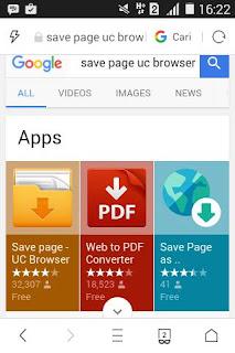 Tutorial Menyimpan Halaman di UC Browser 20