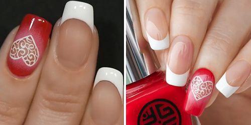 finalizar a decoração de unhas com esmalte vermelho e branco