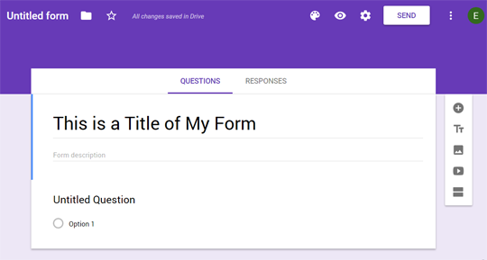 Select Title of your Google Form