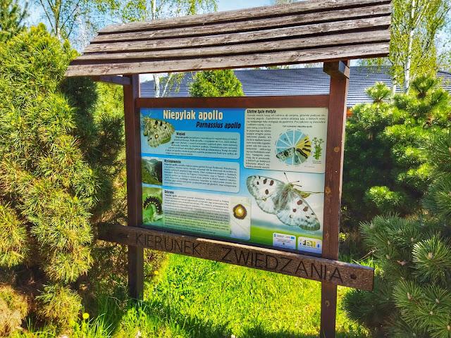 Tablice informacyjne w Arboretum, zwierzęta, rośliny