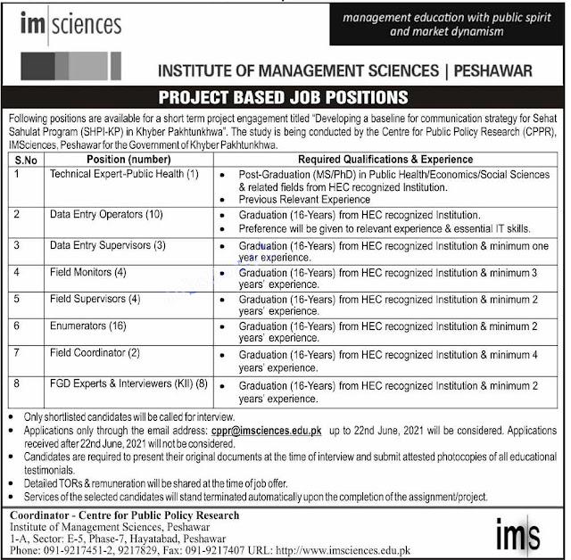 Institute of Management Sciences Peshawar Jobs 2021 Latest Advertisement