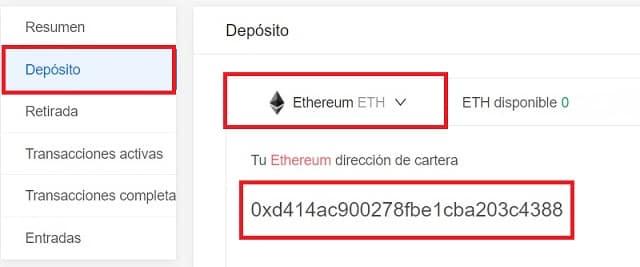 Depositar ethereum desde coinbase en wallet KuCoin