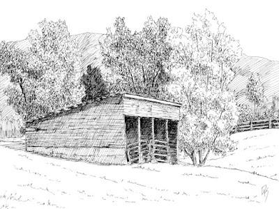 pen ink drawing rural landscape barn shed
