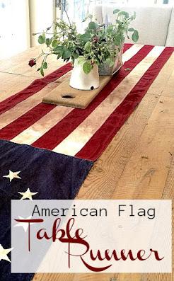 American flag table runner on table.