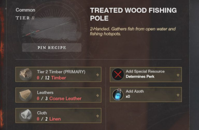 Starting with the second fishing rod, you can add specific resources and azoth to determine the extra skills.