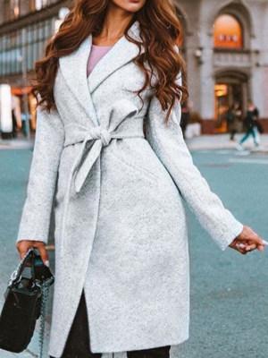 Basic Surplice Belt Plain Coats
