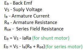 back emf formula and equation