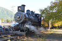 Locomotive 924 prepares to depart from North Bend on Sunday, November 1, 2020
