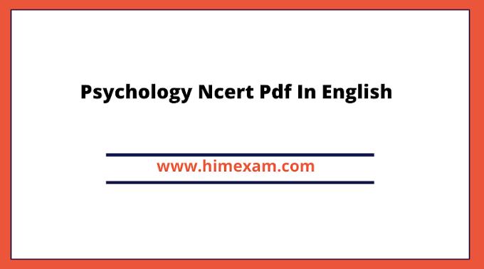 Psychology Ncert Pdf In English