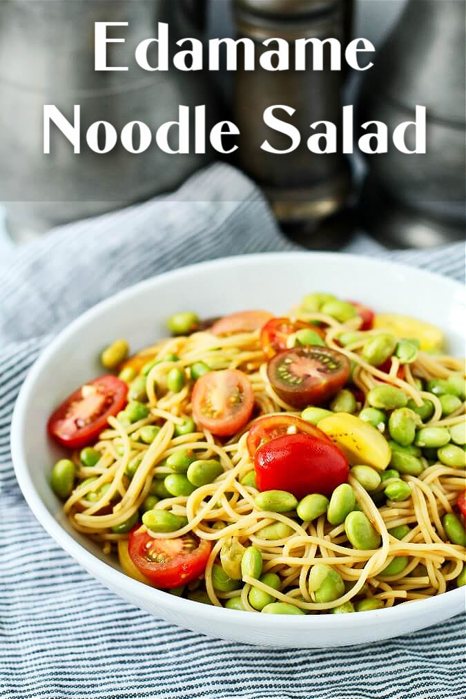 Edamame noodles salad with tomatoes and scallions