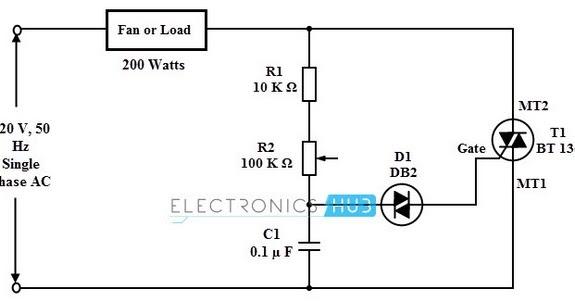 Circuit Schematic Fan Voltage Regulator using TRIAC,DIAC