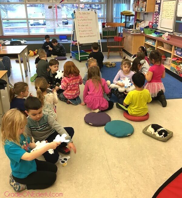 Reading our written descriptions of teddy bears by 1st Grade students