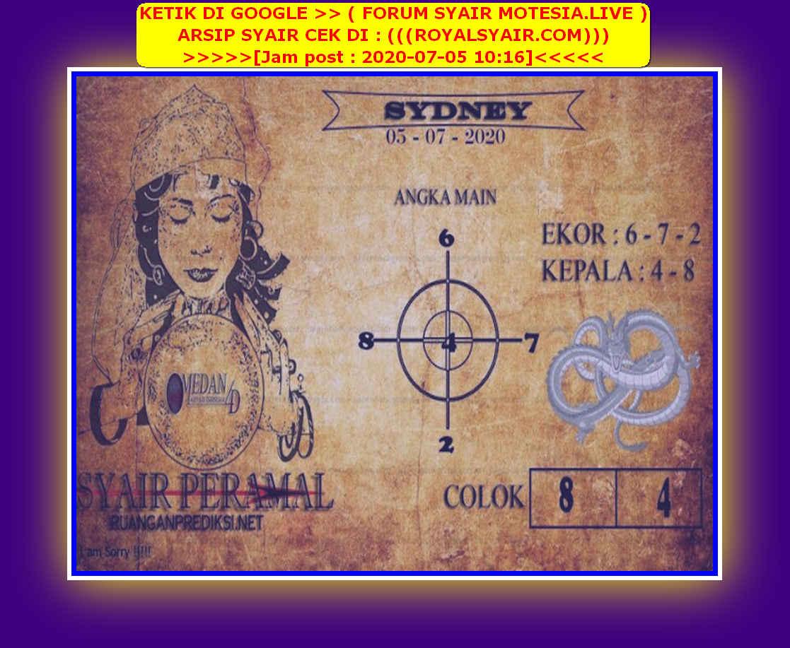 Kode syair Sydney Minggu 5 Juli 2020 132