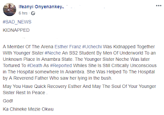 Bodies of Two Abducted Sisters Found In Anambra State