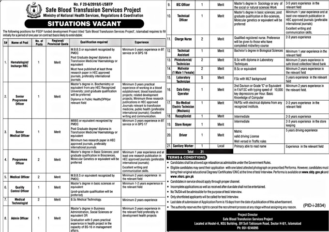 JOBS | Safe Blood Transfusion Services Project SBTP | JOBS