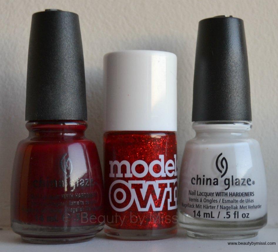 China Glaze Velvet Bow, China Glaze White on White, Models Own Scarlet Sparkle