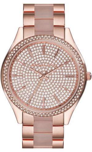 Michael Kors 'Slim Runway' Pavé Dial Blush Acetate Link Bracelet Watch, 42mm