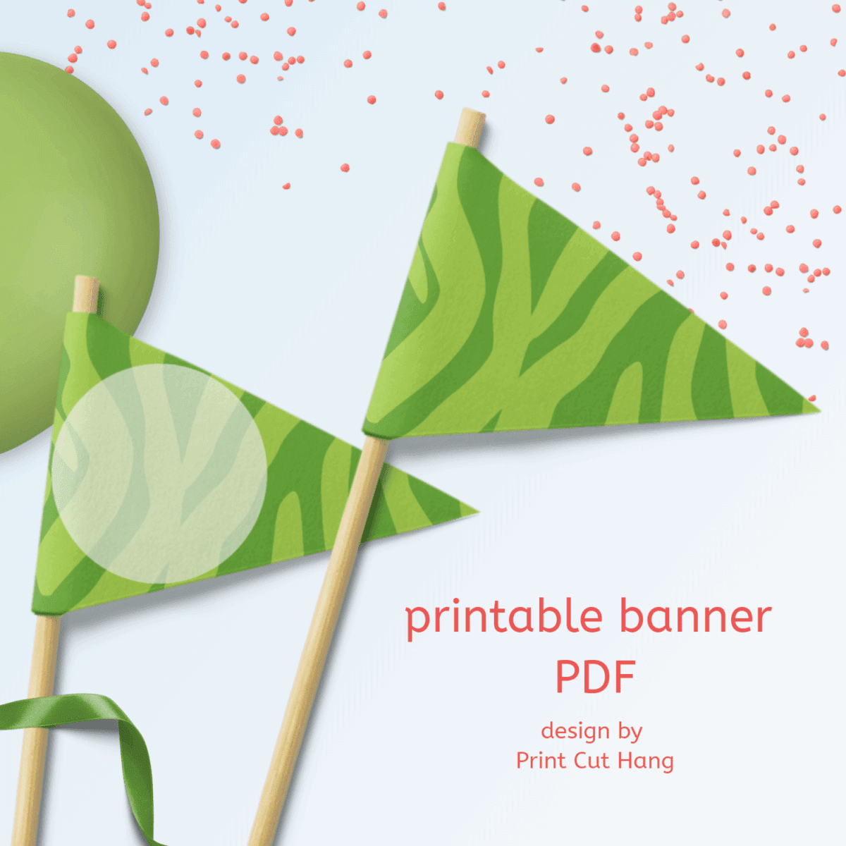 Green printable zebra banner