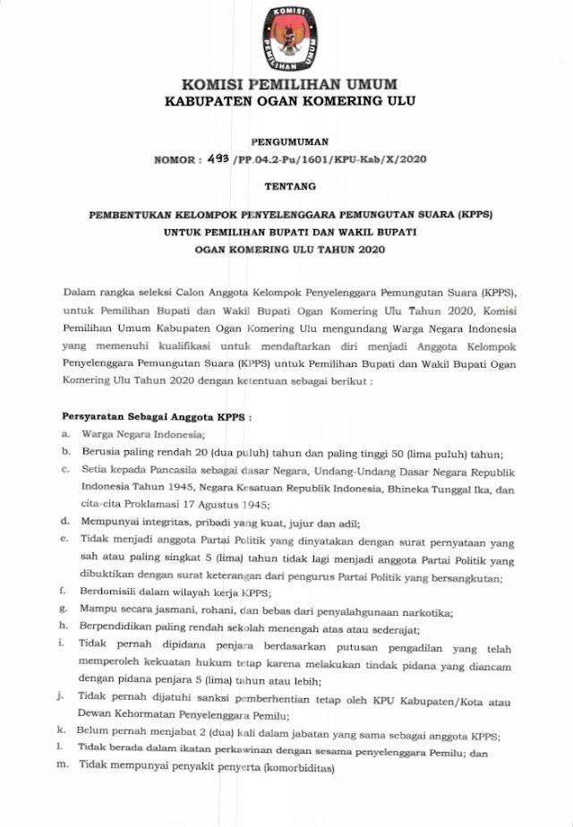 Pembentukan KPPS Untuk Pemilihan Bupati Dan Wakil Bupati OKU Tahun 2020