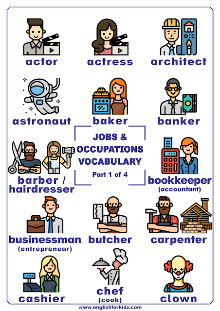 Jobs and occupations vocabulary - printable poster for English learners