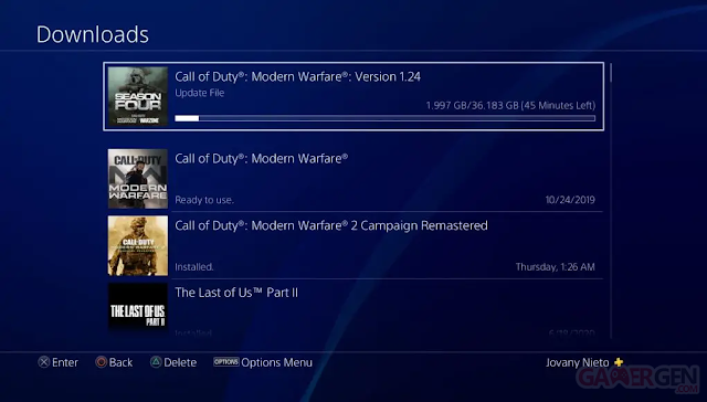 لعبة Call of Duty Modern Warfare تحصل على تحديث 1.24 بشكل مسبق و حجم ضخم للغاية