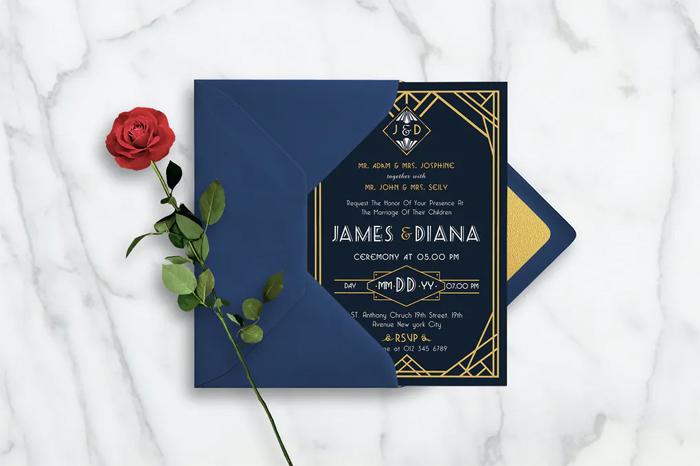 Art Deco Ticket Wedding Invitation Ai and Psd Bundle  3