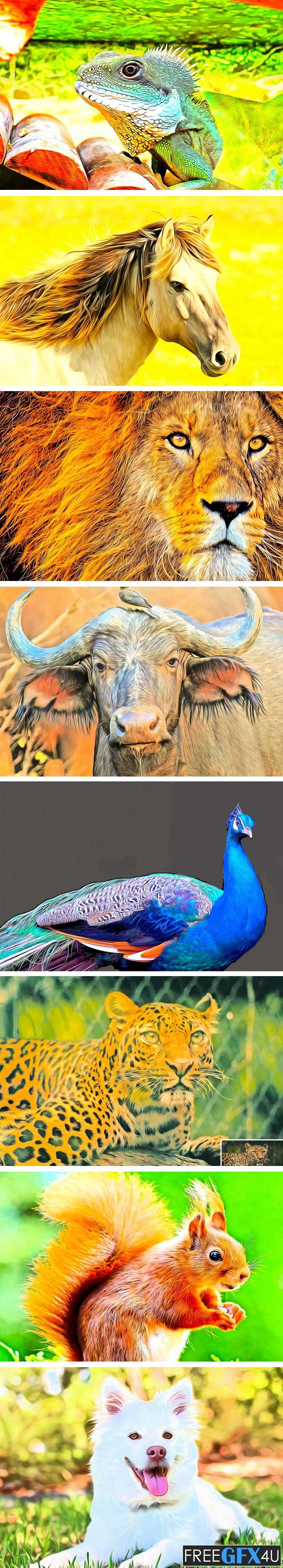 Animal Oil Portrait PS Action
