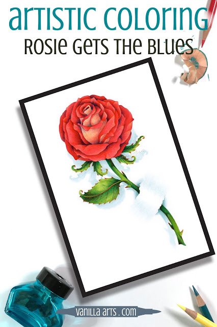 Add realism to Copic Marker blends by underpainting with complementary or opposite colors. Turquoise BG marker creates natural looking shade underneath warm scarlet markers for a beautiful Valentine's red rose. | VanillaArts.com | #copicmarker #realisticcoloring #underpainting