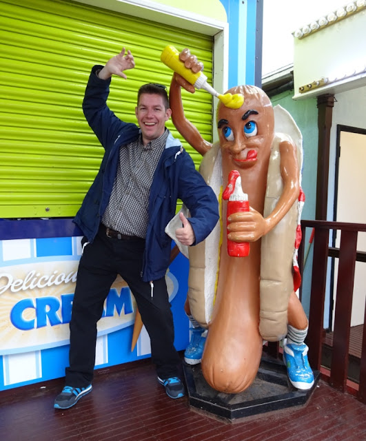 One of the many hot dog guy mascots we've seen on our travels