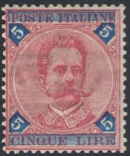 1891 Kingdom Umberto I  5 Lire Carminio & Blue