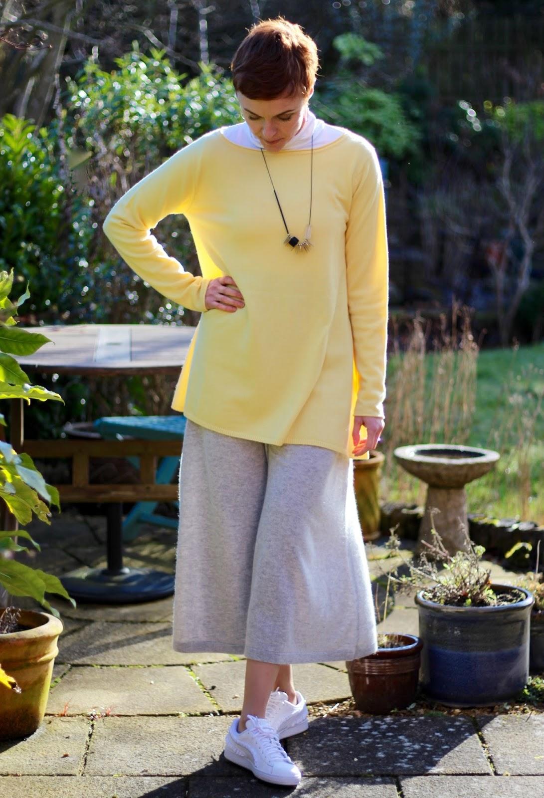 Dove Grey Cashmere Culottes and Lemon Tunic Jumper   Fake Fabulous