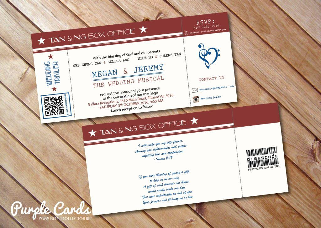 The Wedding Musical Ticket Wedding Card Print