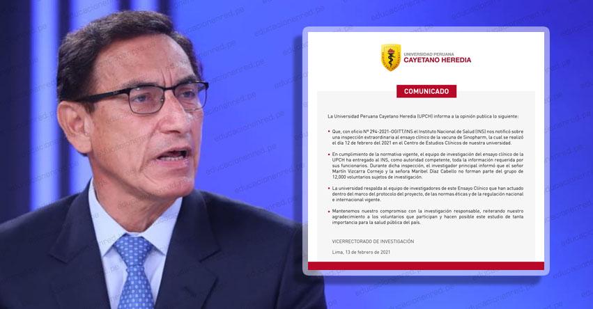 UPCH DESMIENTE A MARTÍN VIZCARRA: Expresidente y su esposa no fueron parte de ensayos clínicos de la vacuna, informó la Universidad Peruana Cayetano Heredia