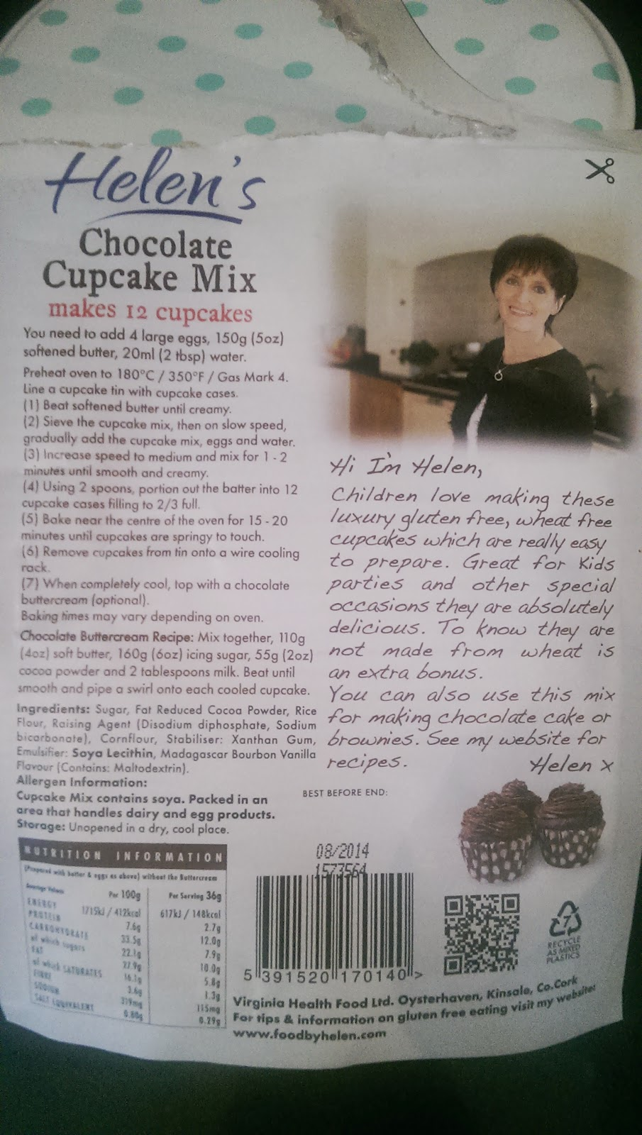 Helen's Chocolate Cupcake Mix Gluten and Wheat Free.