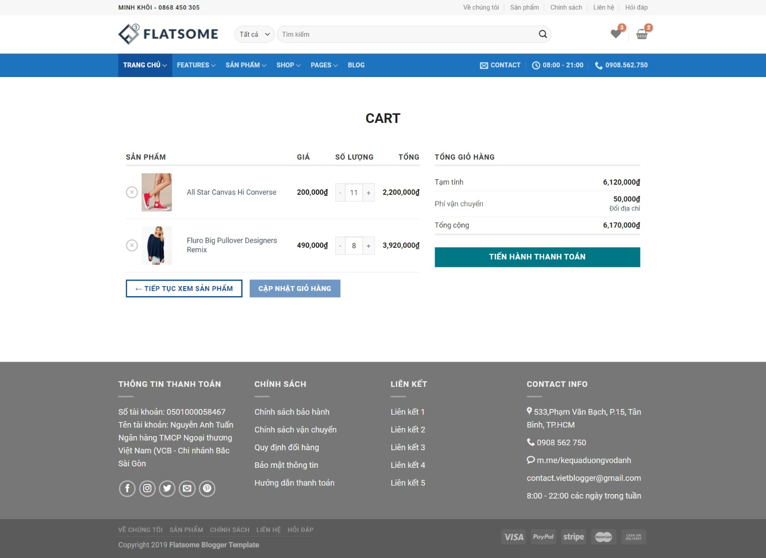 Mẫu bán hàng cao cấp Flatsome Theme Blogger