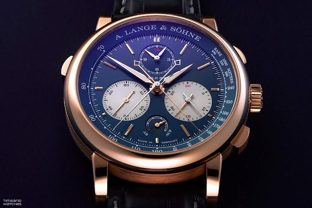 A. Lange & Sohne Triple Split Pink Gold Blue Dial