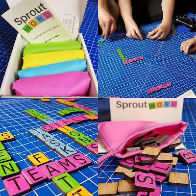 Sprout Word strategy word game review collage of photos showing players and game