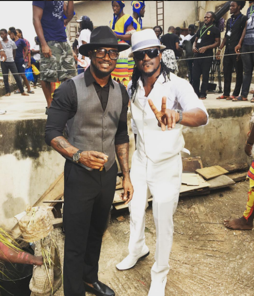 P-square, Phyno and Mr. Ibu pictured on set of upcoming music video