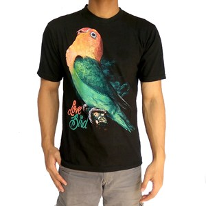 contoh desain sablon kaos komunitas lovebird Indonesia