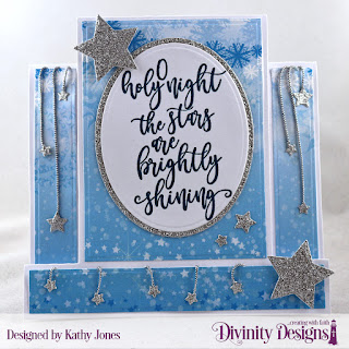 Stamp Set: Silent Night   Paper Collection: Christmas 2019  Custom Dies: Center Step Card with Layers, Sparkling Stars, Ovals, Pierced Ovals