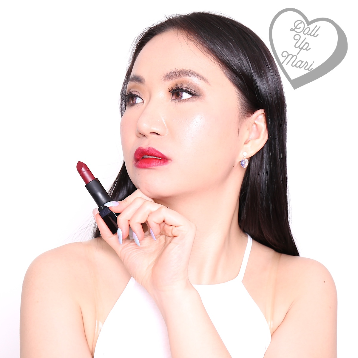 Mari wearing Wild Cherry shade of AVON Perfectly Matte Lipstick
