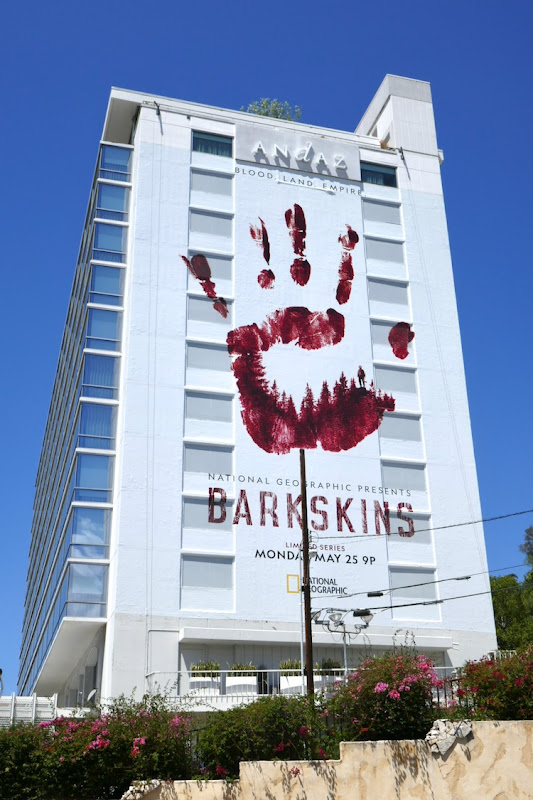 Giant Barkskins bloody handprint billboard