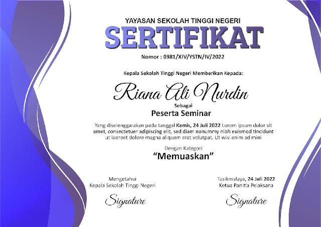 Free .PSD : Download Contoh Sertifikat Seminar Dan Pelatihan Photoshop