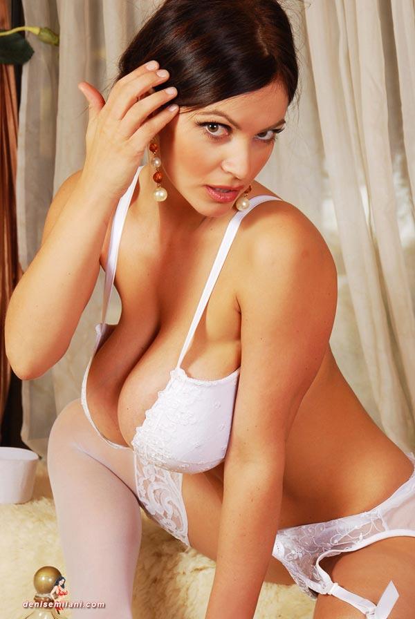 About Denise milani white bikini something