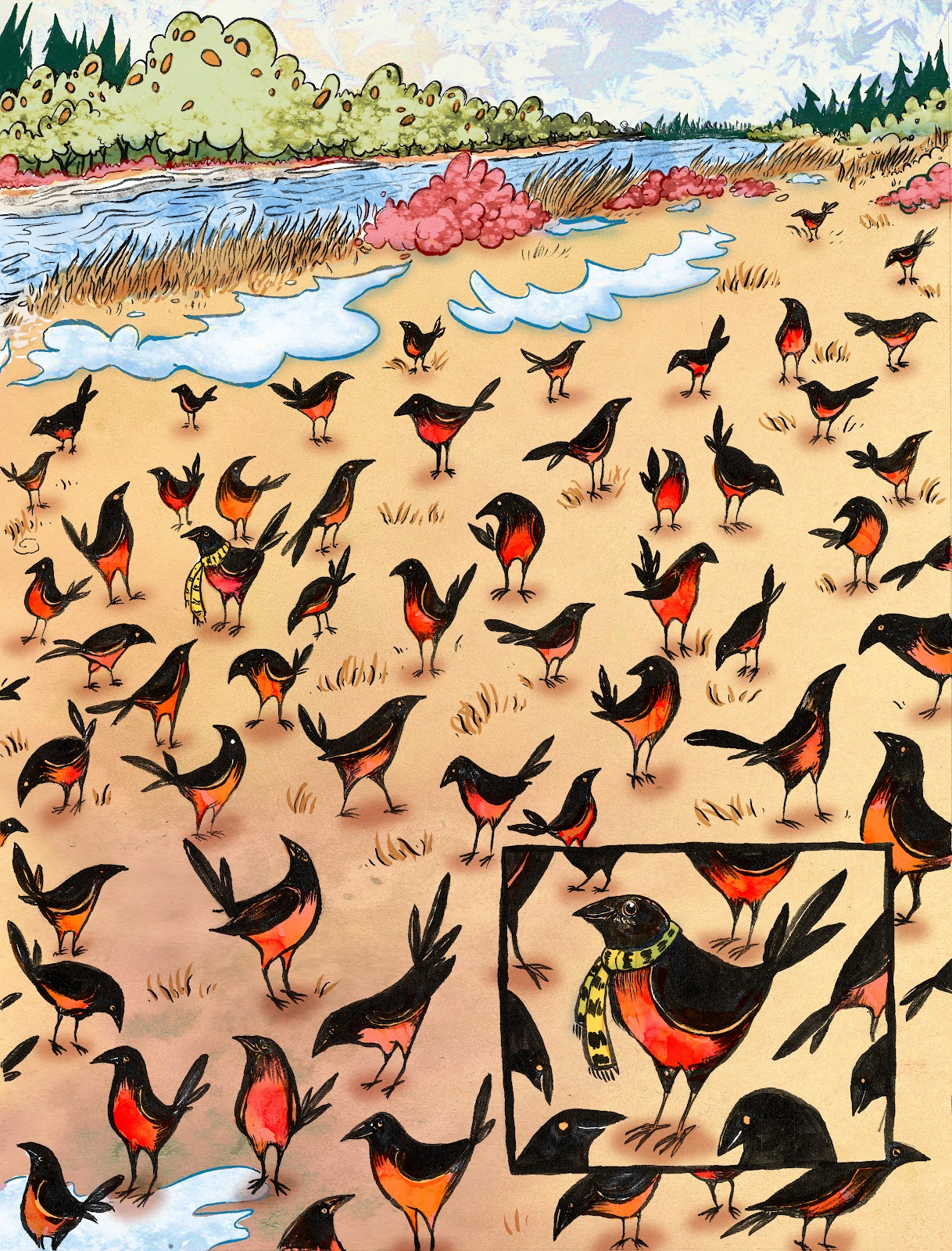 part 2 of a double page spread, Look At All Those Birds!. RobinAnnWren.2012