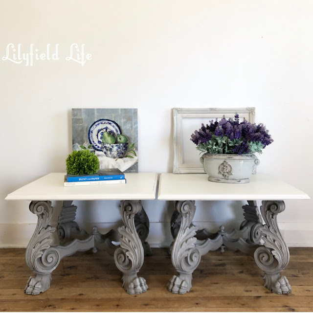 hand painted vintage side tables by Lilyfield life