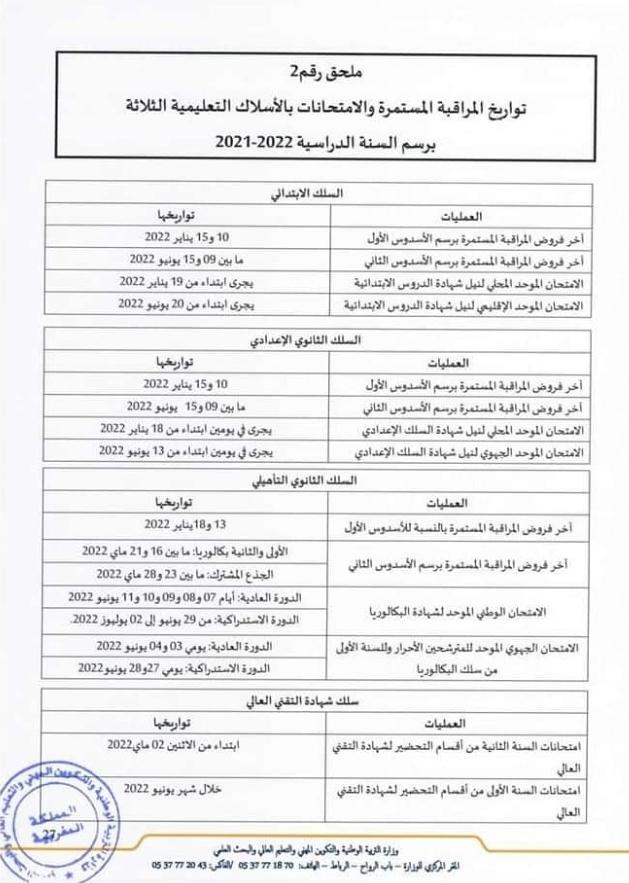 تواريخ المراقبة المستمرة السنة الدراسية 2021/2022