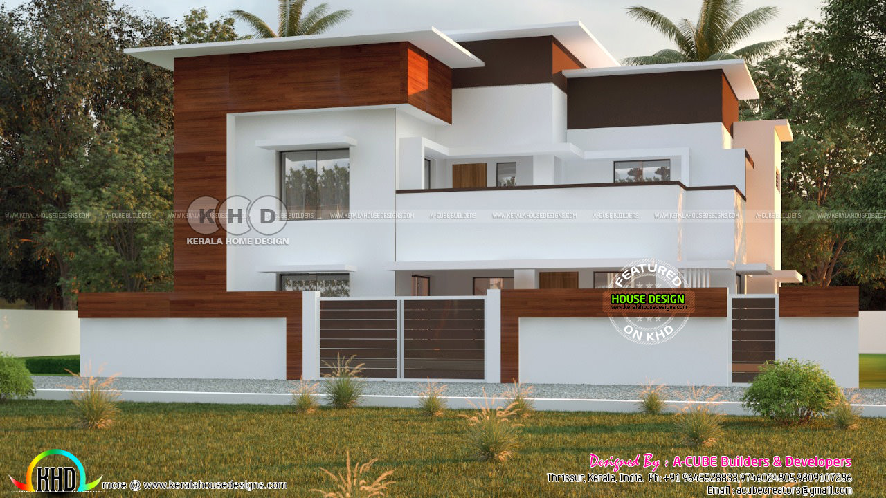 2542 sq-ft 4 bedroom flat roof house architecture - Kerala ...